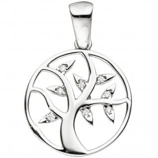 Anhänger Lebensbaum 925 Sterling Silber mit Zirkonia Silberanhänger