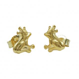Stecker 8x7mm Frosch mit Krone glänzend 9Kt GOLD