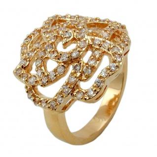 Ring mit weißen Zirkonias mit 3 Mikron vergoldet Ringgröße 60