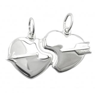 Anhänger 30x16mm Doppelanhänger 2 Herzen mit Pfeil glänzend Silber 925 - Vorschau 1
