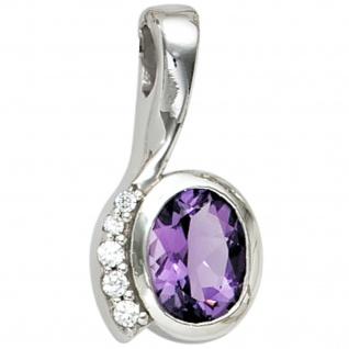 Anhänger 925 Sterling Silber rhodiniert mit Zirkonia lila violett