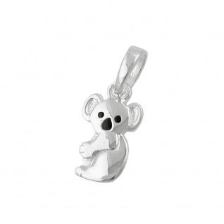 Anhänger Koalabär 13x7mm schwarz lackiert Silber 925