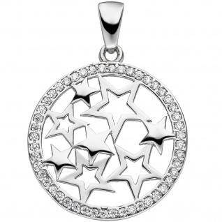 Anhänger Stern Sterne 925 Sterling Silber mit Zirkonia Sternanhänger Sibersterne