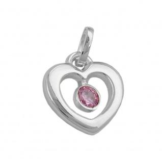 Anhänger 17x16mm Herz Zirkonia pink Silber 925