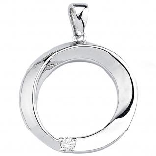 Anhänger rund 925 Sterling Silber 1 Zirkonia Silberanhänger