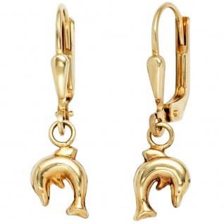 Kinder Boutons Delfin 333 Gold Gelbgold Ohrringe Ohrhänger Kinderohrringe