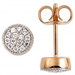 Ohrstecker 585 Gold Rotgold 28 Diamanten Brillanten 0, 13ct.
