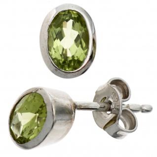 Ohrstecker oval 925 Sterling Silber rhodiniert 2 Peridote grün Ohrringe