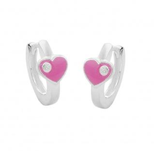 Creole 12x2mm Klappscharnier Herz rosa lackiert mit Zirkonia Silber 925
