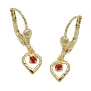 Ohrbrisur Ohrhänger Ohrringe 22x6mm Herz mit Glasstein rot 8Kt GOLD