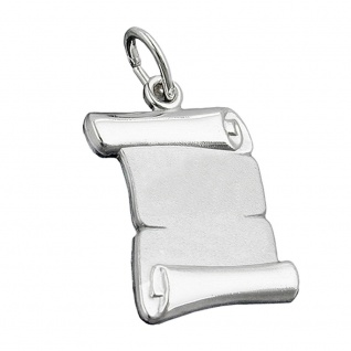 Anhänger 20x14mm Dokumentenrolle matt glänzend Silber 925 - Vorschau 1