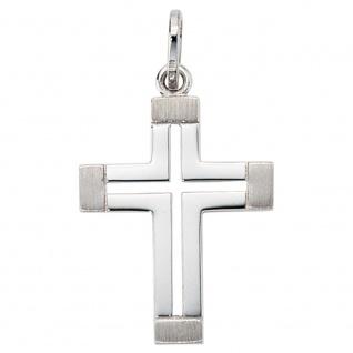 Anhänger Kreuz 585 Gold Weißgold teil matt Kreuzanhänger Goldkreuz