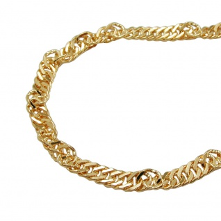 Bauchkette Singapur 2, 2mm diamantiert gold-plattiert 90cm