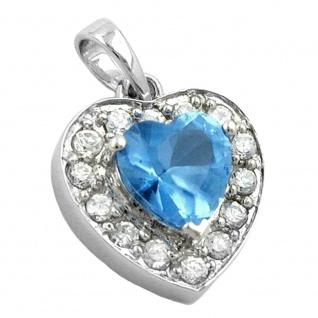 Anhänger 14x13mm Herz synthetischer Blautopas viele Zirkonias rhodiniert Silber 925