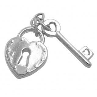 Anhänger 23x15mm Herz Liebesschloss mit Schlüssel glänzend Silber 925