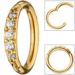 Segmentring Edelstahl gold farben beschichtet mit Kristallsteinen