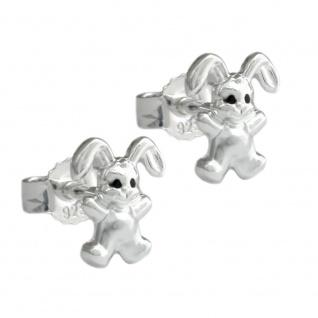 Stecker 11x9mm Kinderohrring kleiner Hase matt-glänzend Silber 925