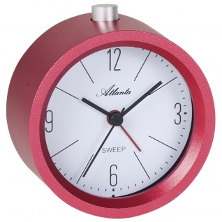 Atlanta 3099/1 Wecker Quarz analog rot leise ohne Ticken mit Licht Snooze