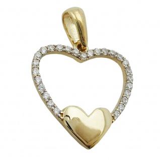 Anhänger 15mm Herz mit vielen Zirkonias 9Kt GOLD