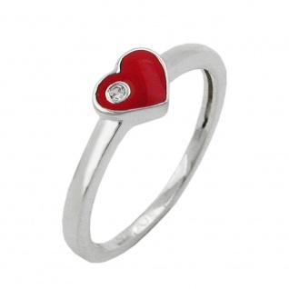 Ring Kinderring mit rotem Herz und weißen Zirkonia Silber 925 Ringgröße 46