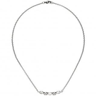 Collier Halskette aus Edelstahl mit 14 Zirkonia 42 cm Kette