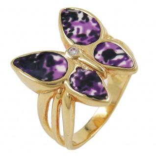 Ring 18x20mm Schmetterling lila farbig lackiert 3 Mikron vergoldet Ringgröße 64