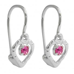 Ohrhaken Ohrringe 15x6mm Herz Glasstein pink Silber 925