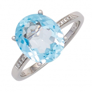 Damen Ring 585 Gold Weißgold 1 Blautopas hellblau blau 8 Diamanten Brillanten