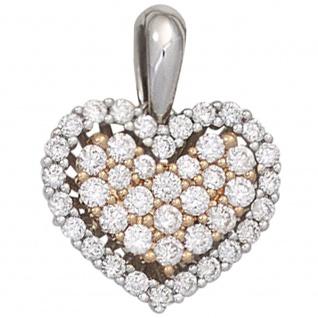 Anhänger Herz 585 Gold Weißgold Rotgold bicolor 43 Diamanten Brillanten