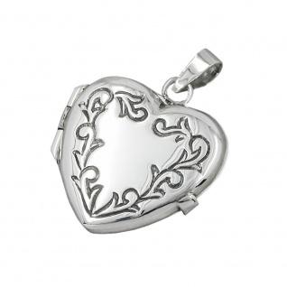 Anhänger 22x20x6mm Medaillon Herz mit Ornament glänzend geschwärzt Silber 925