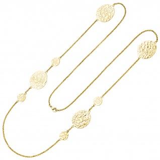 Collier Halskette Edelstahl gelbgoldfarben beschichtet 90 cm Kette