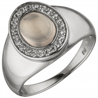 Damen Ring 925 Sterling Silber 1 Rosenquarz 22 Zirkonia Silberring
