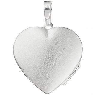 Medaillon Herz für 2 Fotos 925 Sterling Silber matt Anhänger zum Öffnen - Vorschau 2