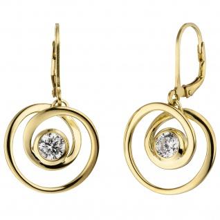 Ohrhänger 925 Sterling Silber gold vergoldet 2 Zirkonia Ohrringe Boutons