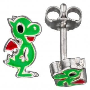 Kinder Ohrstecker Drache grün 925 Sterling Silber Ohrringe Kinderohrringe
