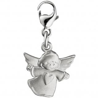 Einhänger Charm Engel Schutzengel 925 Sterling Silber matt mattiert