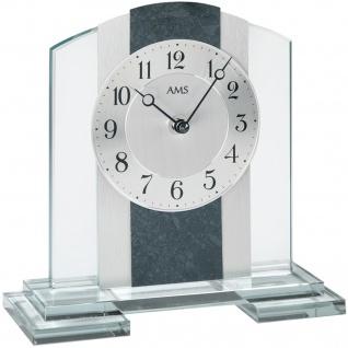 AMS 1121 Tischuhr Quarz silbern Glas mit Schiefer und Aluminium