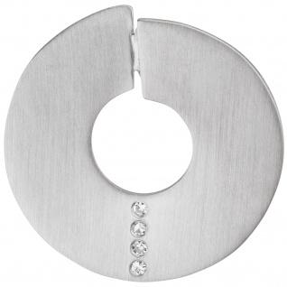 Anhänger rund 925 Silber matt 4 Diamanten Brillanten