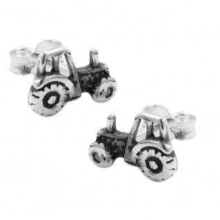 Stecker 9x6mm Traktor geschwärzt Silber 925