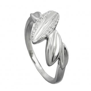 Ring 11mm mit Zirkonias glänzend rhodiniert Silber 925 Ringgröße 58