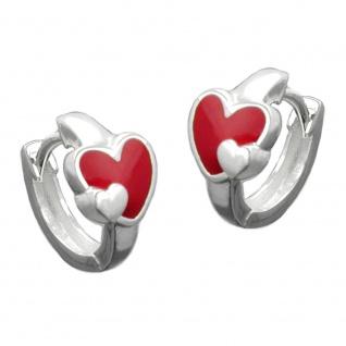 Creole 11x2mm Klappscharnier Herz rot-farbig lackiert Silber 925