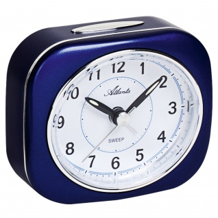 Atlanta 1988/5 Wecker Quarz analog blau leise ohne Ticken mit Licht Snooze