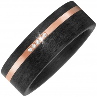Partner Ring Carbon mit 585 Gold Rotgold matt 5 Diamanten Brillanten Partnerring