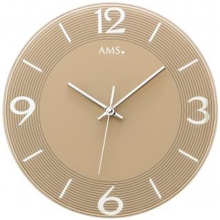 AMS 9572 Wanduhr Quarz analog braun rund mit Glas leise ohne Ticken