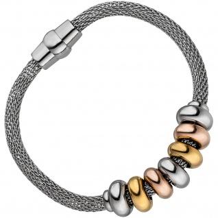Armband Edelstahl tricolor beschichtet 18 cm mit Magnetverschluss