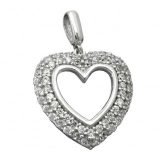 Anhänger 16x15mm Herz mit vielen Zirkonias rhodiniert Silber 925