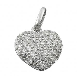 Anhänger 12x13mm Herz mit Zirkonias rhodiniert Silber 925