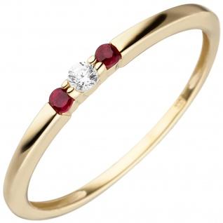 Damen Ring schmal 333 Gold Gelbgold 2 Rubine 1 Zirkonia