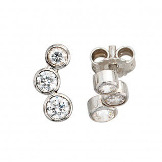 Ohrstecker 925 Sterling Silber rhodiniert 6 Zirkonia Ohrringe Silberohrstecker