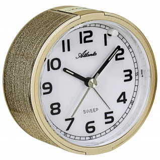 Atlanta 1993/9 Wecker Quarz analog golden leise ohne Ticken mit Licht Snooze
